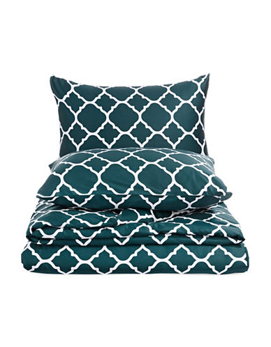 Charter Club Home Damask 300 Thread-Count Three-Piece Duvet Cover Set-PEACOCK-Queen
