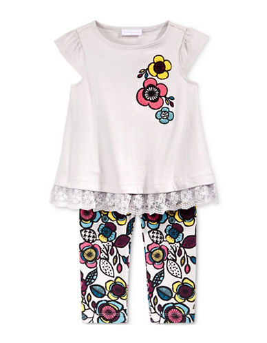 First Impressions Lace-Trim Flower Tunic and Floral-Print Leggings Set-GREY-0-3 Months