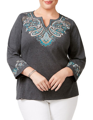 Karen Scott Plus Embroidered Split Neck Top-GREY-3X plus size,  plus size fashion plus size appare