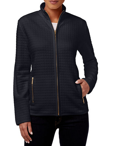 Karen Scott Quilted Zip Front Jacket-BLACK-Large 88536318_BLACK_Large