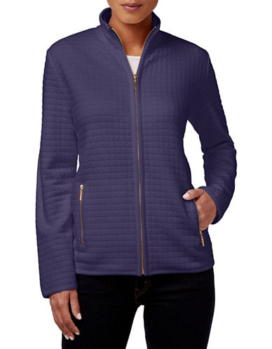 Karen Scott Quilted Zip Front Jacket-PURPLE-X-Large 88536323_PURPLE_X-Large