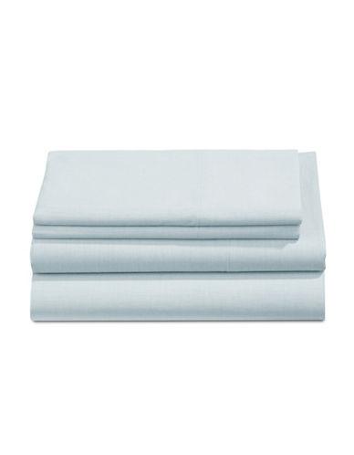 Martha Stewart Four-Piece Yarn Dye 200 Thread Count Sheet Set-BRIGHT BLUE-Queen