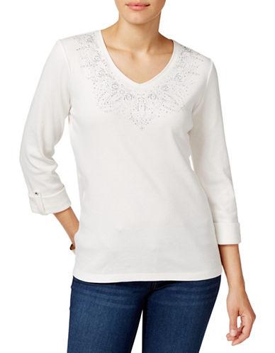 Karen Scott Studded Three-Quarter Sleeve Top-WHITE-Small 88559762_WHITE_Small