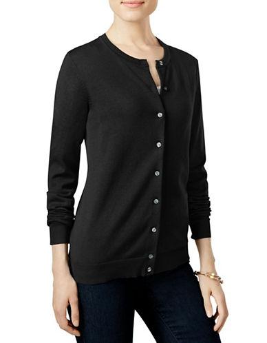 Karen Scott Plus Ribbed Jersey Cardigan-BLACK-1X 88522354_BLACK_1X