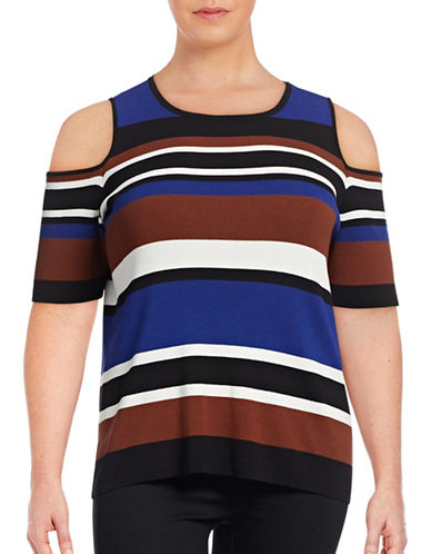 I.N.C International Concepts Plus Striped Cold Shoulder Sweater-BLUE MULTI-2X