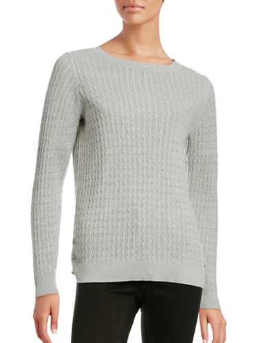 Karen Scott Cable Knit Side-Button Sweater-GREY-X-Large 88559825_GREY_X-Large