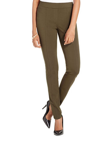 Style And Co. Seam-Front Ponte Leggings-GREEN-Large
