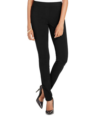 Style And Co. Plus Stretch Seam-Front Ponte Pants-BLACK-18W