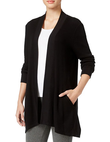 Style And Co. Open-Front Waffle-Knit Cardigan-BLACK-Small 88618953_BLACK_Small
