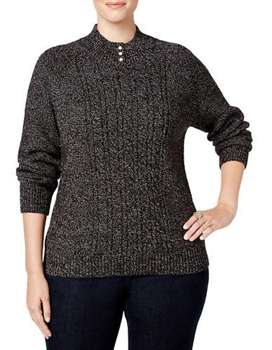 Karen Scott Plus Buttoned Mock Neck Cable Knit Sweater-BLACK-2X