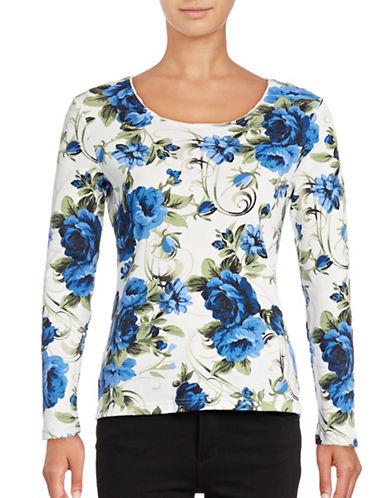 Karen Scott Long Sleeve Floral Top-BLUE-Small 88643869_BLUE_Small