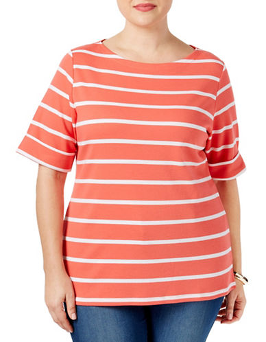 Karen Scott Plus Plus Nina Striped Top-PINK-2X