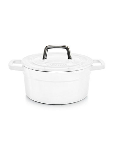 Martha Stewart Enameled Cast Iron 2qt Round Casserole-WHITE-One Size