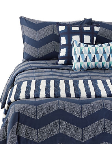 Martha Stewart Spot Chevron Six-Piece Comforter and Quilt Set-NAVY-Twin
