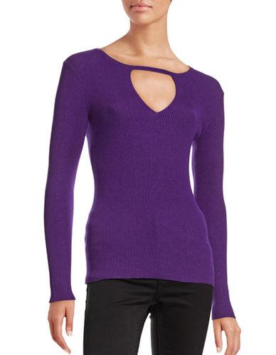 I.N.C International Concepts Petite Ribbed Cutout Sweater-PURPLE-Petite Medium