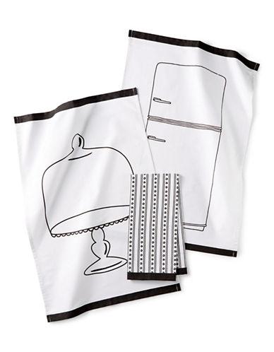 Martha Stewart Pencil Sketch Three-Piece Kitchen Towel Set-WHITE-One Size