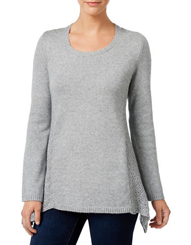 Style And Co. Pointelle-Detail Sweater-GREY-Medium 88665505_GREY_Medium