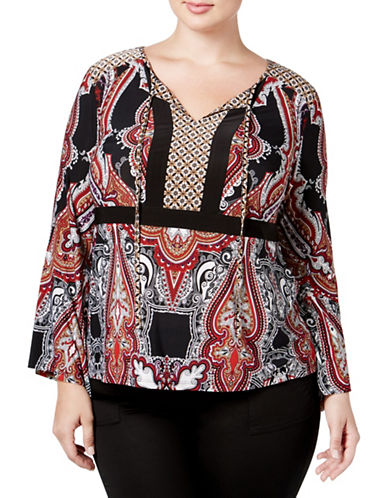 I.N.C International Concepts Plus Plus Paisley Printed Blouse-RED MULTI-3X