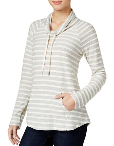 Style And Co. Striped Cowl Neck Sweatshirt-GREY-Medium 88664251_GREY_Medium