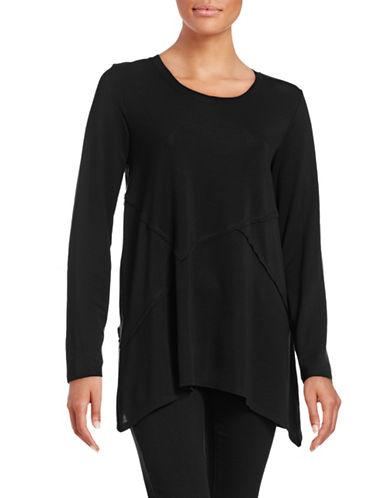 Style And Co. Seam Asymmetrical Hem Top-BLACK-X-Large 88651395_BLACK_X-Large