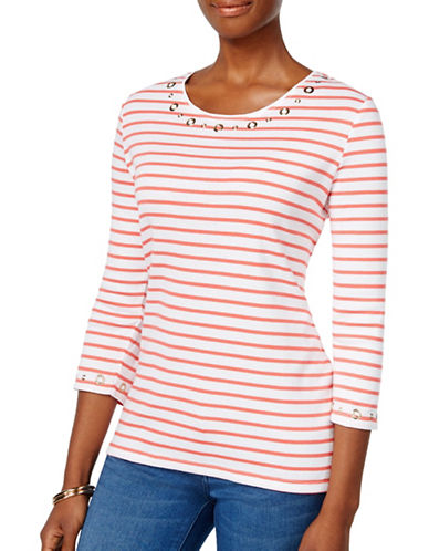 Karen Scott Grommet Stripe Tee-PINK-Large 88800533_PINK_Large