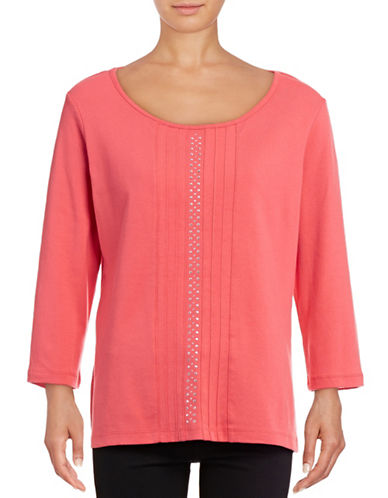 Karen Scott Studded Scoop Neck Top-PINK-Medium 88800500_PINK_Medium