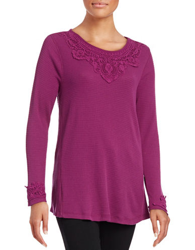 Style And Co. Lace Applique Top-PINK-Small 88665494_PINK_Small