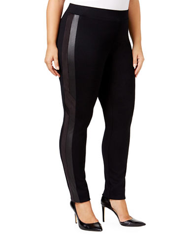 Style And Co. Plus Faux-Leather Inset Leggings-BLACK-20W