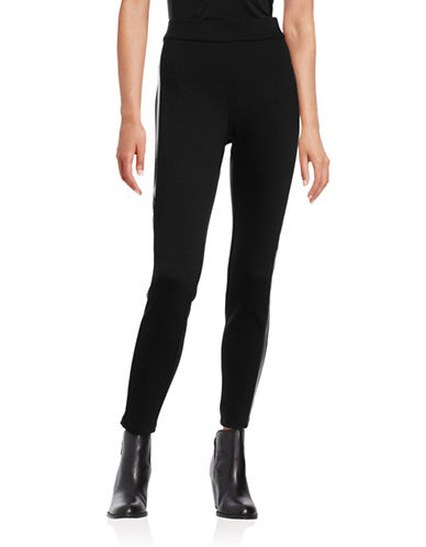 Style And Co. Faux-Leather-Stripe Comfort-Waist Leggings-BLACK-Medium 88665541_BLACK_Medium