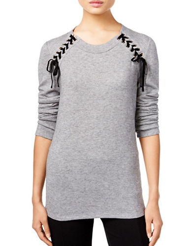 I.N.C International Concepts Lace-Up Sweater-GREY-Large 88700873_GREY_Large