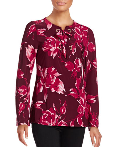 I.N.C International Concepts Floral-Printed Lace-Up Top-RED-Large 88700906_RED_Large