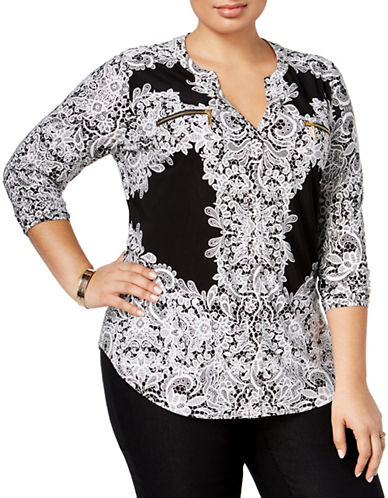 I.N.C International Concepts Plus Lace Print Top-BLACK/WHITE-1X
