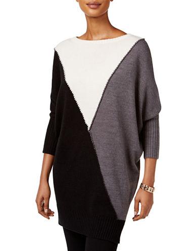 Style And Co. Colourblock Tunic Sweater-BLACK-Medium 88721915_BLACK_Medium