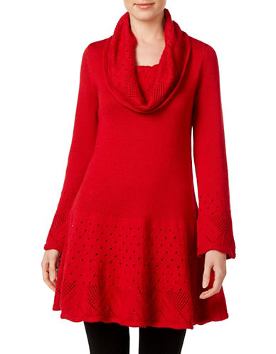 Style And Co. Cowl Neck Tunic Sweater-RED-Medium 88721919_RED_Medium