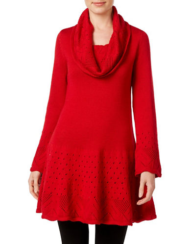 Style And Co. Petite Cowl Neck Tunic Sweater-RED-Petite Large 88722290_RED_Petite Large