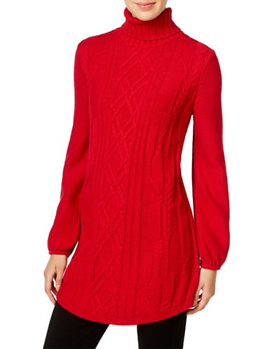 Style And Co. Cable Knit Tunic Sweater-RED-Medium 88721947_RED_Medium
