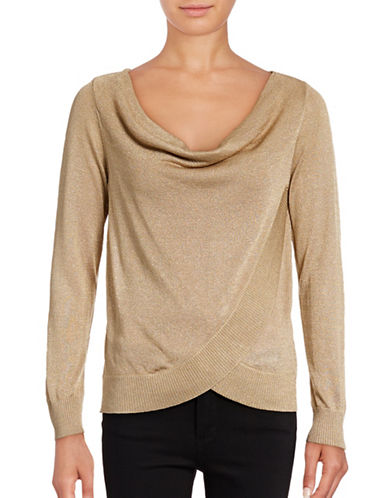 I.N.C International Concepts Petite Surplice Cowl Neck Lurex Top-GOLD-Petite Small