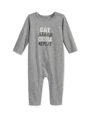 First Impressions Eat Sleep Cuddle Repeat Coverall-GREY-0-3 Months