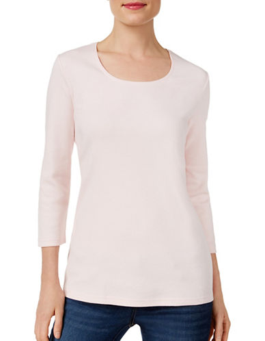 Karen Scott Three-Quarter Sleeve Top-PINK-Large 88838561_PINK_Large
