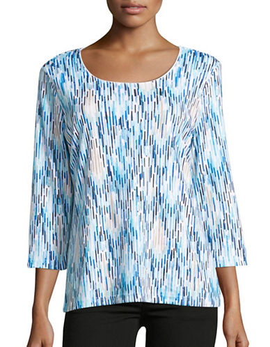 Karen Scott Droplet Ikat Scoop Neck Tee-BLUE-X-Large 88838591_BLUE_X-Large