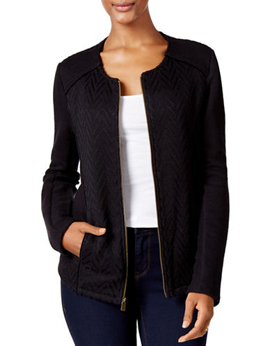 Style And Co. Mixed Moto Jacket-BLACK-X-Large 88799421_BLACK_X-Large