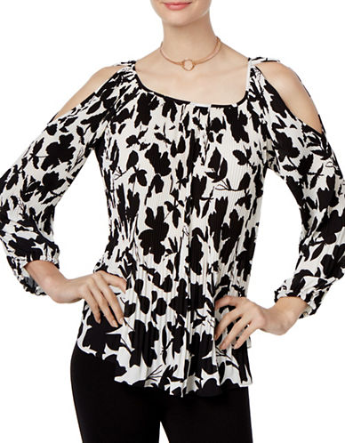 I.N.C International Concepts Printed Cold-Shoulder Top-WHITE-Small 88829124_WHITE_Small