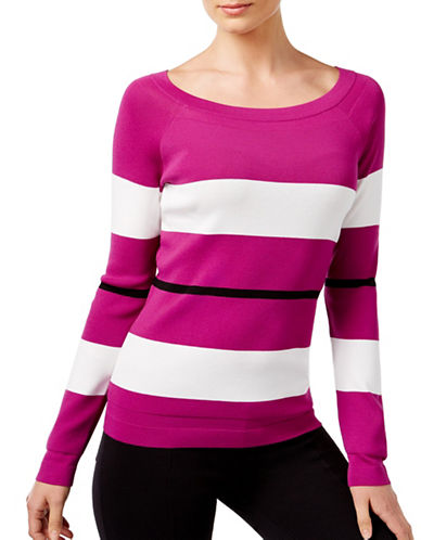 I.N.C International Concepts Petite Striped Boat Neck Top-PINK-Petite Small