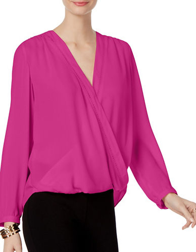 I.N.C International Concepts Petite Surplice Blouse-PINK-Petite Medium