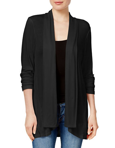Style And Co. Super Soft Cozy Open Front Cardigan-BLACK-Small 88886523_BLACK_Small