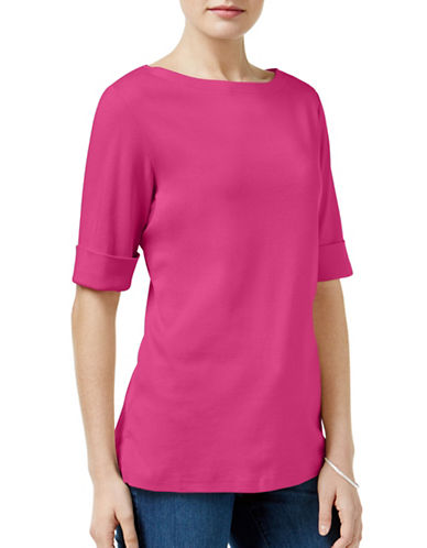 Karen Scott Boat Neck Top-PINK-Small 88888916_PINK_Small