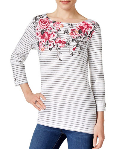 Karen Scott Striped Floral Printed Top-WHITE-Medium 88892867_WHITE_Medium