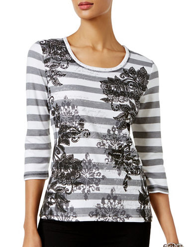 Karen Scott Striped Floral-Print Top-BLACK-Medium 88892871_BLACK_Medium