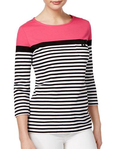 Karen Scott Striped Colourblocked Top-PINK-Medium 88888926_PINK_Medium