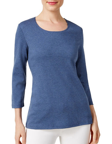Karen Scott Petite Petite Scoop Neck Top-BLUE-Petite Small